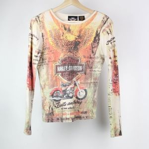 Harley Davidson Blouse Graphic Tee Motorcycles